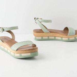 Schuler & Sons Mint Leather Platform Sandal